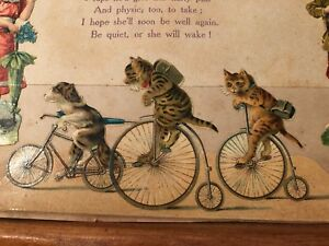 Antique Victorian Folk Art Scrapbook Page Awesome Cats Bikes Doll Poem Photo