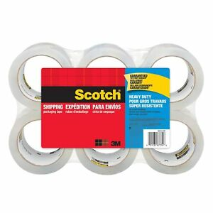 Scotch Heavy Duty Shipping Packaging Tape 6 Rolls 3 Core 1 88 x 54 6 Yards