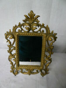 Vintage Victorian Cast Iron Gold Table Mirror Or Frame On Stand Nice Detail