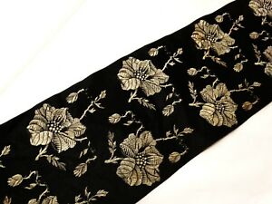 Antique Victorian Roses Silk Brocade Ribbon Black Taupe 23 X 4 Millinery Dolls