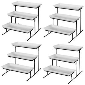 4 Pieces Server Tray Set Dessert Buffet Display 3 tier Stand Plate Rack Cupcake