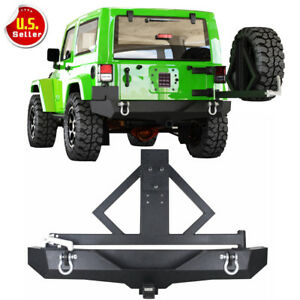For 87 06 Jeep Wrangler Tj Yj Rock Crawler Black Rear Bumper Tire Carrier
