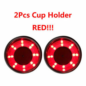 X2 Red Led Cup Drink Holder Stainless Steel Cup Bottle Marine Boat Truck Rv