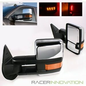 00 02 Chevy Tahoe Power Heated Telescoping Trailer Chrome Tow Mirrors Led Signal