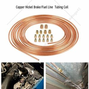 Copper Nickel Steel 3 16 Brake Line Tubing Kit Armor With 16pcs Gold Fittings