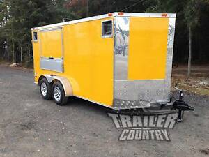 Brand New 2019 7x14 7 X 14 V nosed Enclosed Concession Vending Trailer In Stock