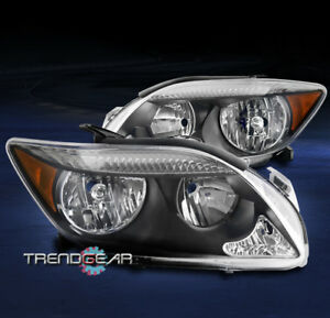 For 2005 2006 2007 Scion Tc Crystal Style Headlights Lamps Black amber Reflector