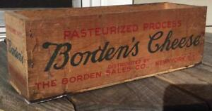 Primitive Decorative Advertising Bordens Wood 5 Lb White American Cheese Box