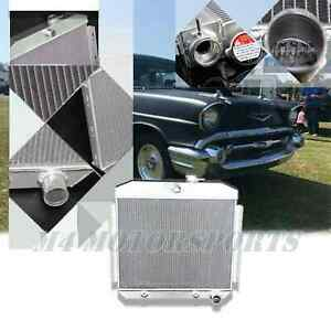 3 Rows Aluminum Radiator Fit For 55 56 57 Chevy Bel Air 6cyl Position 5056