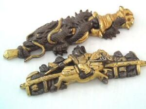 Antique Edo Period Japanese Sword Menuki Bronze Gold Samuri Warrior Dragon
