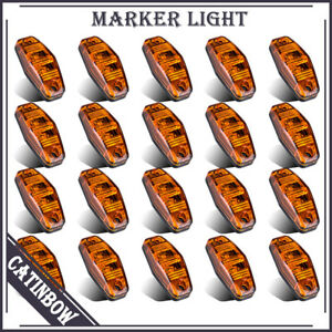 20 X Amber Surface Mount Clearance Side Marker Light Trailer Boat Led Universal