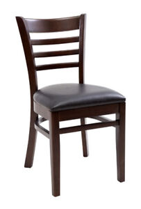 New Gladiator Wooden Walnut Ladder Back Restaurant Chair With Black Vinyl Seat