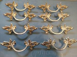 Set Of 8 Vintage French Provincial Drawer Pulls W Screws