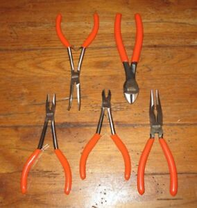 Lot Of 5 Matco Tools Mini Pliers 6 6 5 Orange Handle Long Nose Diagonal New