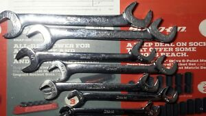 Snap On Tools 7pc Sae Chrome 4 Way Open End Angle Head Wrench Set 3 8 3 4 Vs