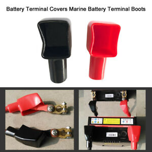 2 Car Marine Battery Terminal Boots Insulating Protector Covers Red