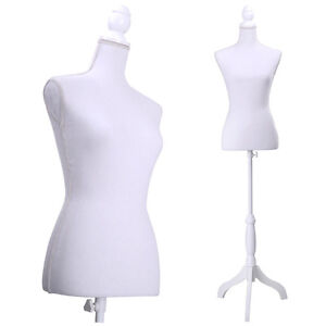 New White Female Mannequin Torso Clothing Display With White Tripod Stand