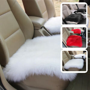 Real Fur Long Wool Front Car Seat Cushion Sheepskin Cover Winter Warm Chair Pad