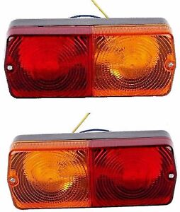 Pair Massey Ferguson Ford David Brown Tractor Rear Stop Flasher Light Flat Base