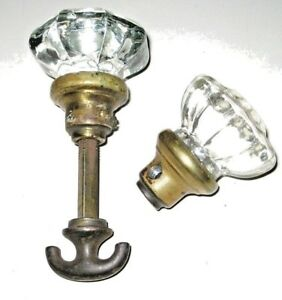 Early 1900s Antique Vintage Glass Passage Closet Door Handle Knob Set Plus Extra