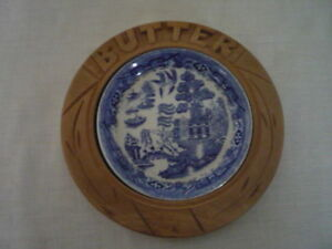 Carved Wood Butter Dish Blue Willow Liner English Kitchenalia Cottage Display