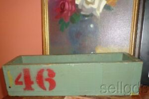 Vintage Old Industrial Office Chic Wood Box Number 46 Original Paint Cool
