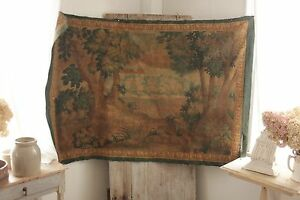 Tapestry Antique French Painted 1800 S Aubusson Style Wall Hanging Rare Textile