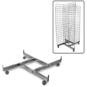 Store Fixture Supplies 4 Panel Gridwire Rolling Display Base Black Finish