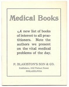 P Blakiston S Son Publisher Booklet Of Medical Book Titles Ca 1920s Vintage