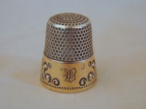 Old Gold Band Sterling Silver Sewing Thimble 9 Excellent Ketcham