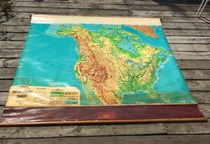 Vintage Cram S Physical Political United States Canada Pull Down Map 64 X 55