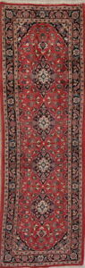 Hand Knotted Floral Red Kashaan Persian Oriental Runner Rug Wool 3 X10