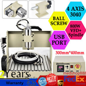 Usb 4 Axis 3040 Cnc Router Engraver Milling Carving Cut Machine Ballscrew 800w
