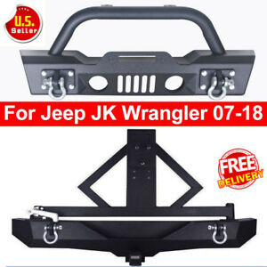 Fit 2007 2019 Jeep Wrangler Jk Black Front Bumper Textured W Winch Plate D Ring