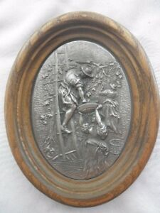Vintage Grapes Harvest Pewter Picture In Oval Wooden Frame