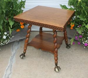 Carved Quartersawn Oak Clawfoot Lamp Table Huge Glass Ball Eagle Spiral Legs Old