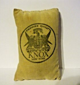 Old Vtg Knox Pin Cushion New York Premier Quality Velvet Knox Logo