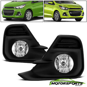 Fits 2016 2018 Chevy Spark Clear Lens Bumper Driving Fog Lights Lamps Pair