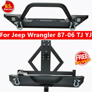 Textured Front rear Bumper Combo led Lights d rings 87 06 Jeep Wrangler Tj Yj