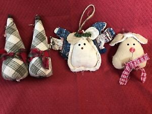 Primitive Ornaments From Vintage Quilt Trees Reindeer Tucks Lodge Decor Ooak