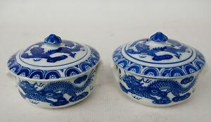 Vintage Pair Chinese Blue And White Dragon Covered Soup Bowls