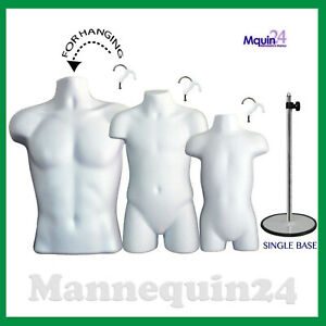 3 White Mannequins Male Child Toddler Torso Dress Forms Set 3 Hangers 1 Stand