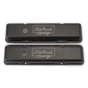 Edelbrock 41713 Victor Series Valve Cover Set Small Block Chevy