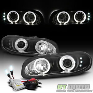1998 2002 Chevy Camaro Black Led Halo Projector Healights Slim 6000k Hid Kit Set