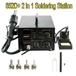 852d 2in1 Soldering Rework Station Iron Hot Air Gun Smd Welder W 5tips Esd