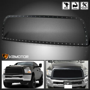 2013 2018 Dodge Ram 2500 3500 Black Textured S S Rivet Style Upper Grille Insert