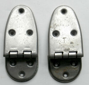 Antique General Store 2 Cooler Icebox Door Hinges Nickel Plated Brass 6 Avail