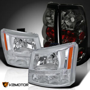 For 2003 2006 Chevy Silverado 1500 Pickup Clear Headlights Smoke Rear Tail Lamps