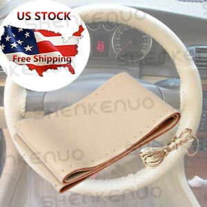 Us 1pc Car Steering Wheel Cover Genuine Leather 38cm For Bmw E39 E46 325i E53 X5