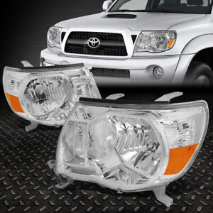 For 05 11 Toyota Tacoma Pair Chrome Housing Amber Corner Driving Headlight lamps